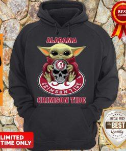 Baby Yoda Hug Skull Alabama Crimson Tide Hoodie