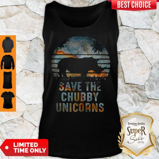 Funny Save The Chubby Unicorns Vintage Retro Sunset Rhino Vintage Tank Top