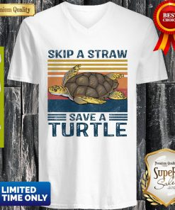 Official Skip A Straw Save A Turtle Vintage V-neck