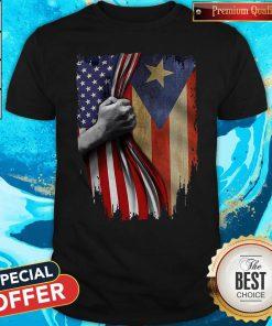 Funny Puerto Rico American Flag Shirt