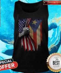 Funny Puerto Rico American Flag Tank Top