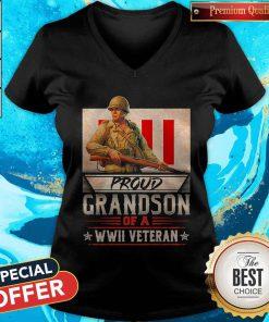 Nice Proud Grandson Of A Wwii Veteran ShirtNice Proud Grandson Of A Wwii Veteran V-neck