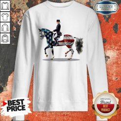Premium American Flag Derssage Horse Sweatshirt