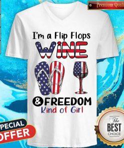 Top I'm A Flip Flops Wine And Freedom Kind Of Girl V-neck