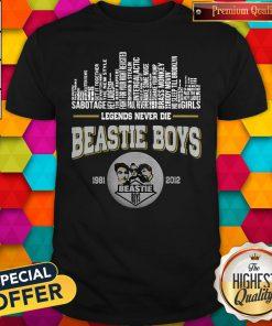 Top Legends Never Die Beastie Boys 1981 2012 Shirt