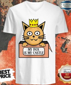 Funny Cat King My Box Is My Castle V-neck