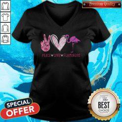 Cute Peace Love Flamingos Diamond V-neck