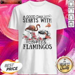 A Good Day Starts With Coffee And Flamingos Premium Shirt