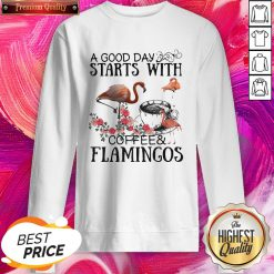A Good Day Starts With Coffee And Flamingos Premium SweatShirt