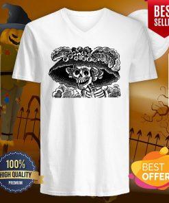 Day Of The Dead Dia De Los Muertos Skulls Vintage Skeletons V-neck