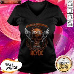 Fantastic Skull Motor Harley Davidson AC DC Halloween V-neck