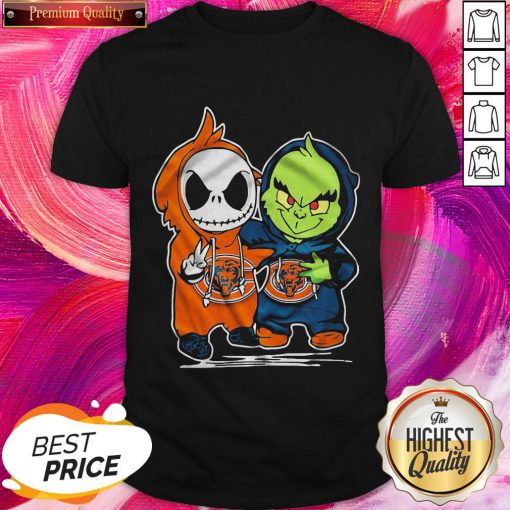 Funny Baby Skeleton And Baby Grinch Chicago Bears Shirt