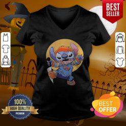 Funny Halloween Stitch Good Guys Chucky Doll Moon V-neck