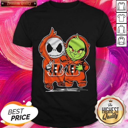 Great Baby Skeleton And Baby Grinch Bengals Baseball Shirt