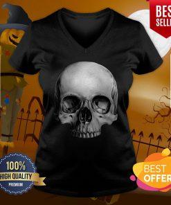 Half Skull Dia De Muertos Day Of Dead V-neck