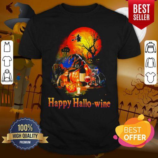Happy Hallo Wine Cat Pumpkin Sunset Halloween Shirt