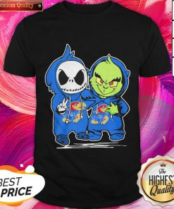 Nice Baby Skeleton And Baby Grinch Kansas Jayhawk Shirt