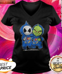 Nice Baby Skeleton And Baby Grinch Kansas Jayhawk V-neck