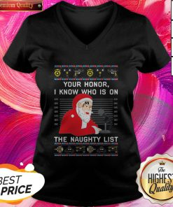 Nice Your Honor Santa I Know Who Is On The Naughty List Christmas V-neck