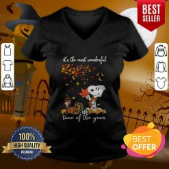 Wonderful Snoopy It's The Most Wonderful Time Of The Year Halloween V-neck