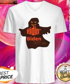 Funny Halloween Costume Hidin' Biden Trump 2020 V-neck