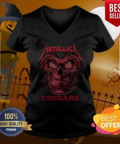 Great Skull Metallica Houston Cougars V-neck