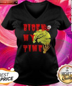Happy Halloween Biden Skull My Time V-neck