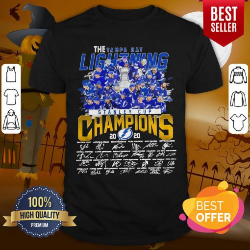 Pro The Tampa Bay Lightning Stanley Cup Champions 2020 Signatures Shirt