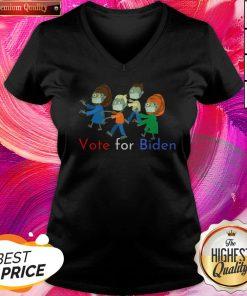 Zombies Vote For Biden Corona Virus Halloween V-neck