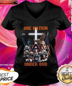 Funny Auburn Tigers One Nation Under God V-neck - Design By Thelasttees.com