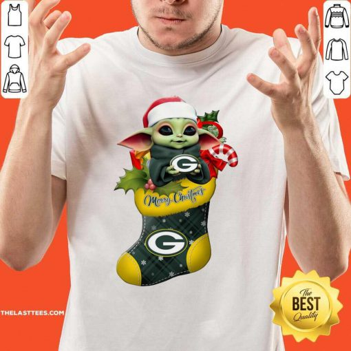 Baby Yoda hug Green Bay Packers Ornament Merry Christmas 2020 Shirt - Design By Thelasttees.com