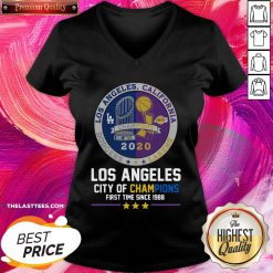 Funny Los Angeles California Lakers Dodgers Los Angeles City Of Champions First Time Since 1988 V-neck - Design By Thelasttees.com