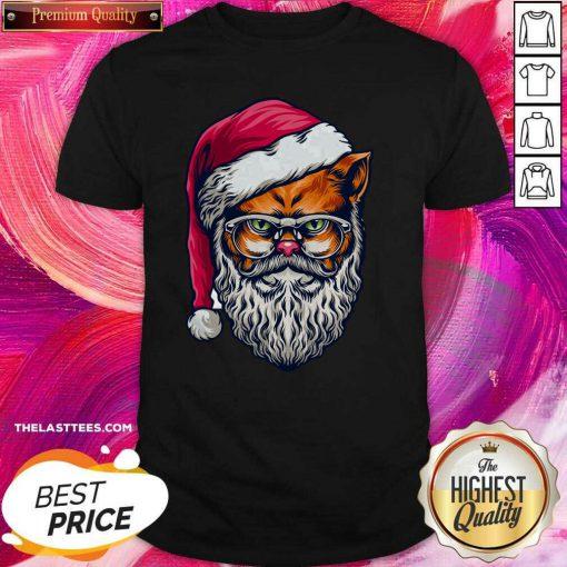 Top Xmas Wildcat Santa Claus Christmas Wearing Glasses Shirt - Design By Thelasttees.com