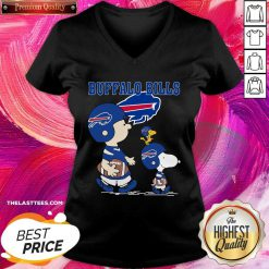 Snoopy and Woodstock and Charlie Brown Buffalo Bills V-neck - Design By Thelasttees.com