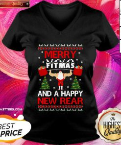 Merry Fitmas And A Happy New Rear Gym Xmas Ugly V-neck - Design By Thelasttees.com