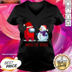 Red Is Sus Among Us Christmas Game Among Us Xmax V-neck - Design By Thelasttees.com