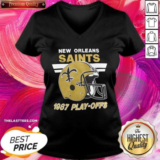 Helmet New Orleans Saints 1987 Play Offs V-neck - Design By Thelasttees.com