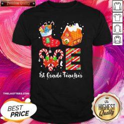 Socks House 1st Grade Teacher Merry Christmas Shirt - Design By Thelasttees.com