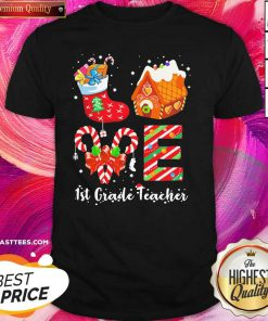 Socks House 1st Grade Teacher Merry Christmas Shirt - Design By Thelasttees.com