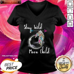 Stay Wild Moon Child Boho Lunar Eclipse Cute Feathers Arrow V-neck - Design By Thelasttees.com