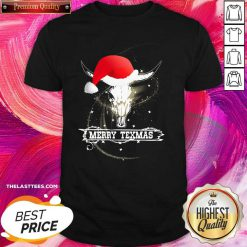 Merry Texmas Skull Cow Christmas Shirt - Design By Thelasttees.com