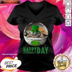 Baby Yoda Happy St Patricks Days V-neck - Design By Thelasttees.com