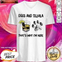Premium Dog And Wine That'S Why I'M Here V-neck