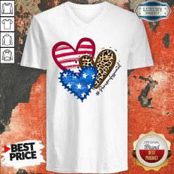 American Flag Hearts Paraprofessional V-neck